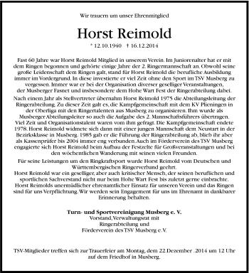 Zur Gedenkseite von Horst Reimold