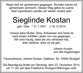 Zur Gedenkseite von Sieglinde Kostan