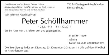 Zur Gedenkseite von Peter Schöllhammer