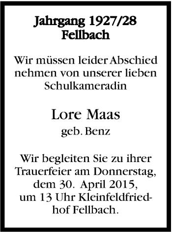 Zur Gedenkseite von Lore Maas