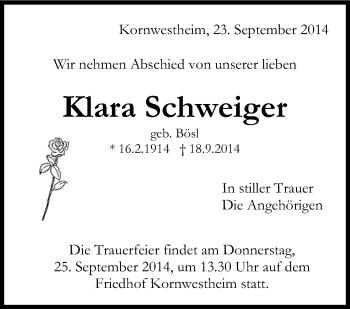 Zur Gedenkseite von Klara Schweiger