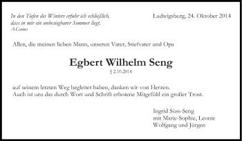 Zur Gedenkseite von Egbert Wilhelm Seng