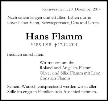 Zur Gedenkseite von Hans Flamm