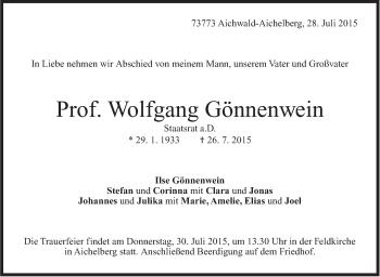 Zur Gedenkseite von Wolfgang Gönnenwein