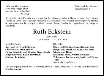 Zur Gedenkseite von Ruth Eckstein