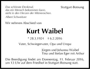 Zur Gedenkseite von Kurt Waibel
