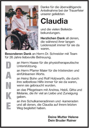 Zur Gedenkseite von Claudia