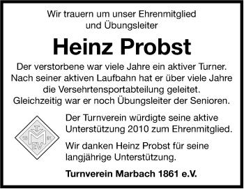 Zur Gedenkseite von Heinz Probst
