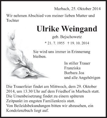 Zur Gedenkseite von Ulrike Weingand