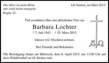 Zur Gedenkseite von Barbara Lochter