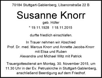 Zur Gedenkseite von Susanne Knorr