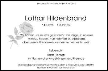 Zur Gedenkseite von Lothar Hildenbrand