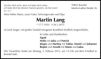 Zur Gedenkseite von Martin Lang