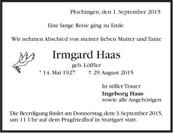 Zur Gedenkseite von Irmgard Haas