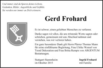 Zur Gedenkseite von Gerd Frohard