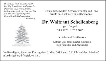 Zur Gedenkseite von Waltraut Schellenberg