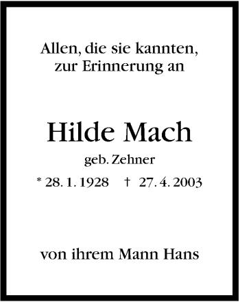 Zur Gedenkseite von Hilde Mach