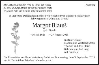 Zur Gedenkseite von Margot Blauß