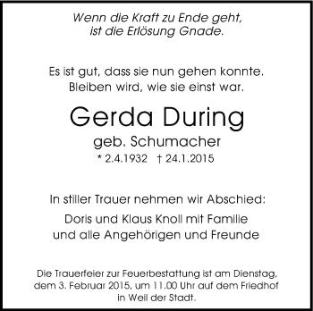 Zur Gedenkseite von Gerda During