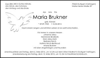 Zur Gedenkseite von Maria Brukner