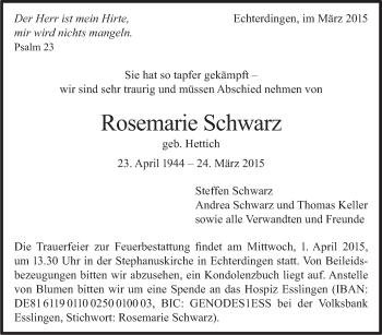 Zur Gedenkseite von Rosemarie Schwarz