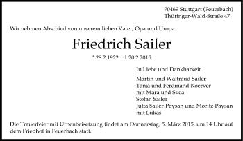 Zur Gedenkseite von Friedrich Sailer