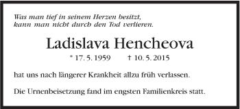 Zur Gedenkseite von Ladislava Hencheova