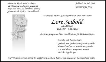 Zur Gedenkseite von Lore Seibold