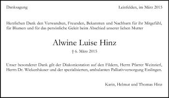 Zur Gedenkseite von Alwine Luise Hinz