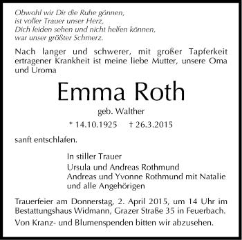 Zur Gedenkseite von Emma Roth