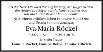 Zur Gedenkseite von Eva-Maria Röckel