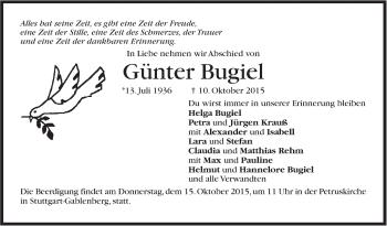 Zur Gedenkseite von Günter Bugiel