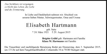 Zur Gedenkseite von Elisabeth Hartmann