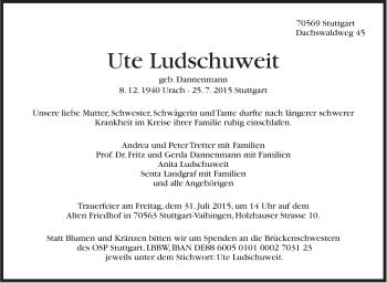 Zur Gedenkseite von Ute Ludschuweit
