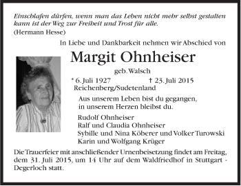 Zur Gedenkseite von Margit Ohnheiser