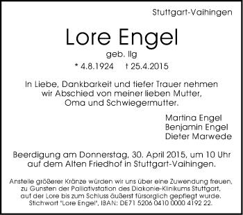 Zur Gedenkseite von Lore Engel