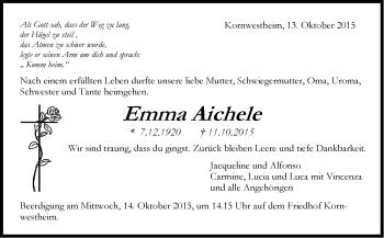 Zur Gedenkseite von Emma Aichele