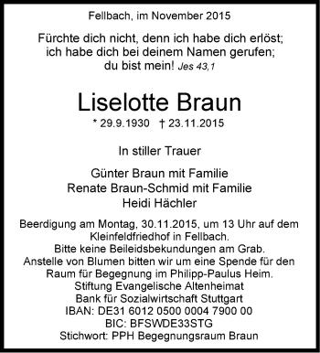 Zur Gedenkseite von Liselotte Braun