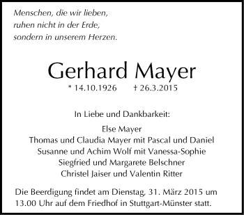 Zur Gedenkseite von Gerhard Mayer