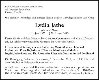 Zur Gedenkseite von Lydia Jathe