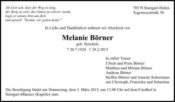 Zur Gedenkseite von Melanie Börner