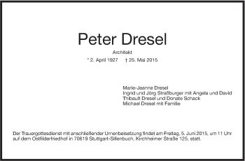Zur Gedenkseite von Peter Dresel