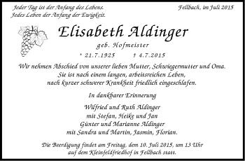 Zur Gedenkseite von Elisabeth Aldinger