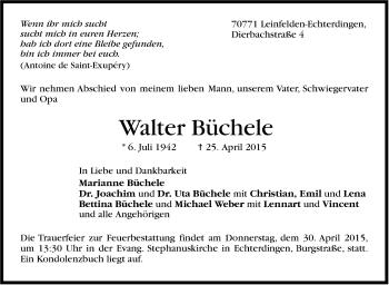 Zur Gedenkseite von Walter Büchele