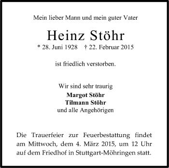 Zur Gedenkseite von Heinz Stöhr