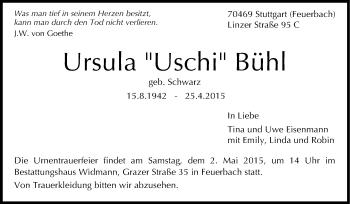Zur Gedenkseite von Ursula Bühl