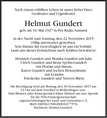 Zur Gedenkseite von Helmut Gundert