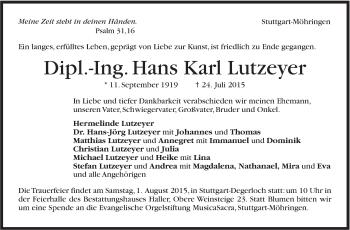 Zur Gedenkseite von Hans Karl Lutzeyer