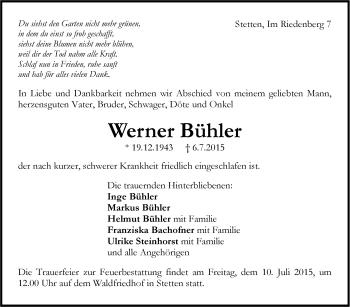 Zur Gedenkseite von Werner Bühler