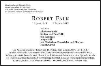 Zur Gedenkseite von Falk Robert
